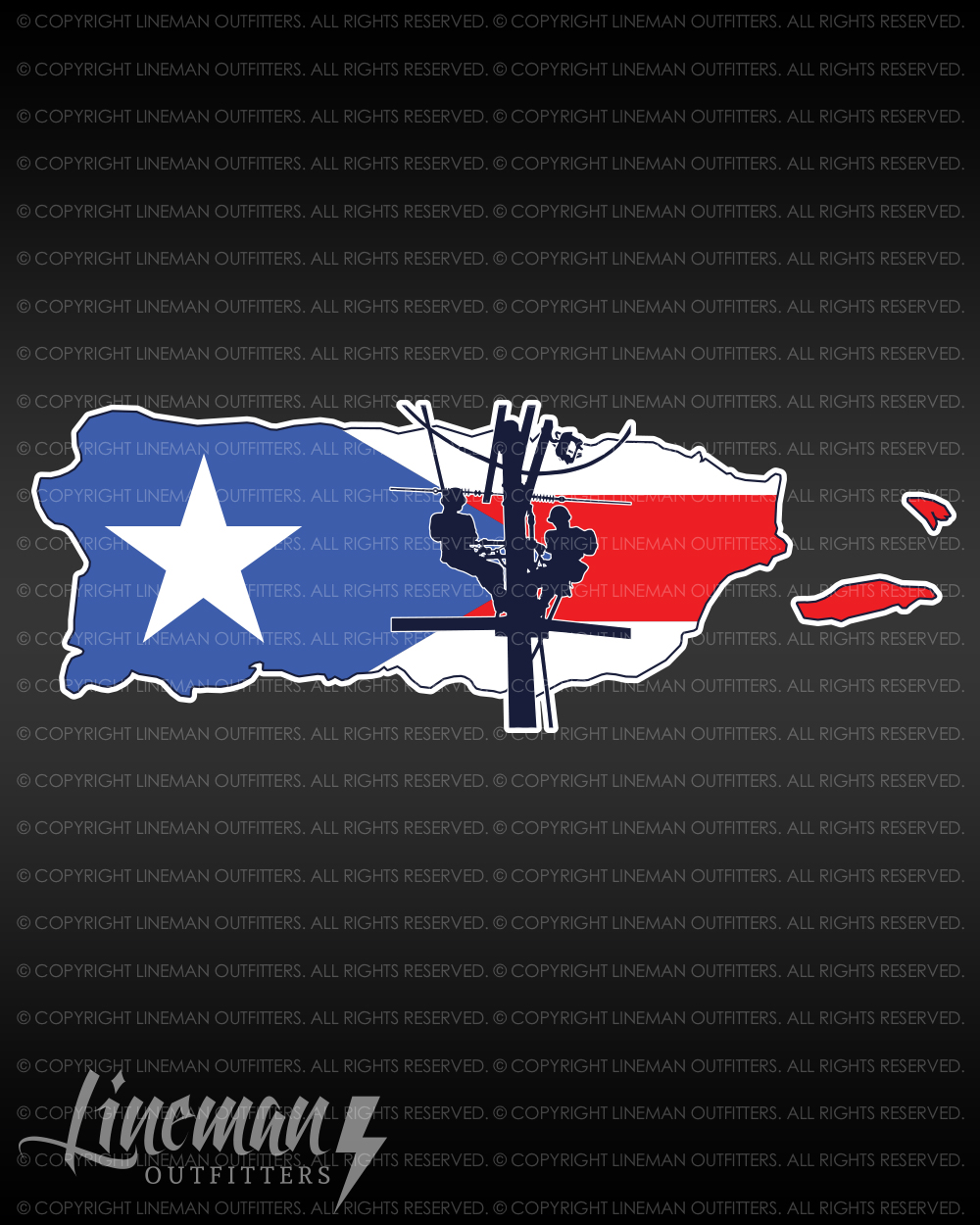 Puerto rico with flag lineman decal