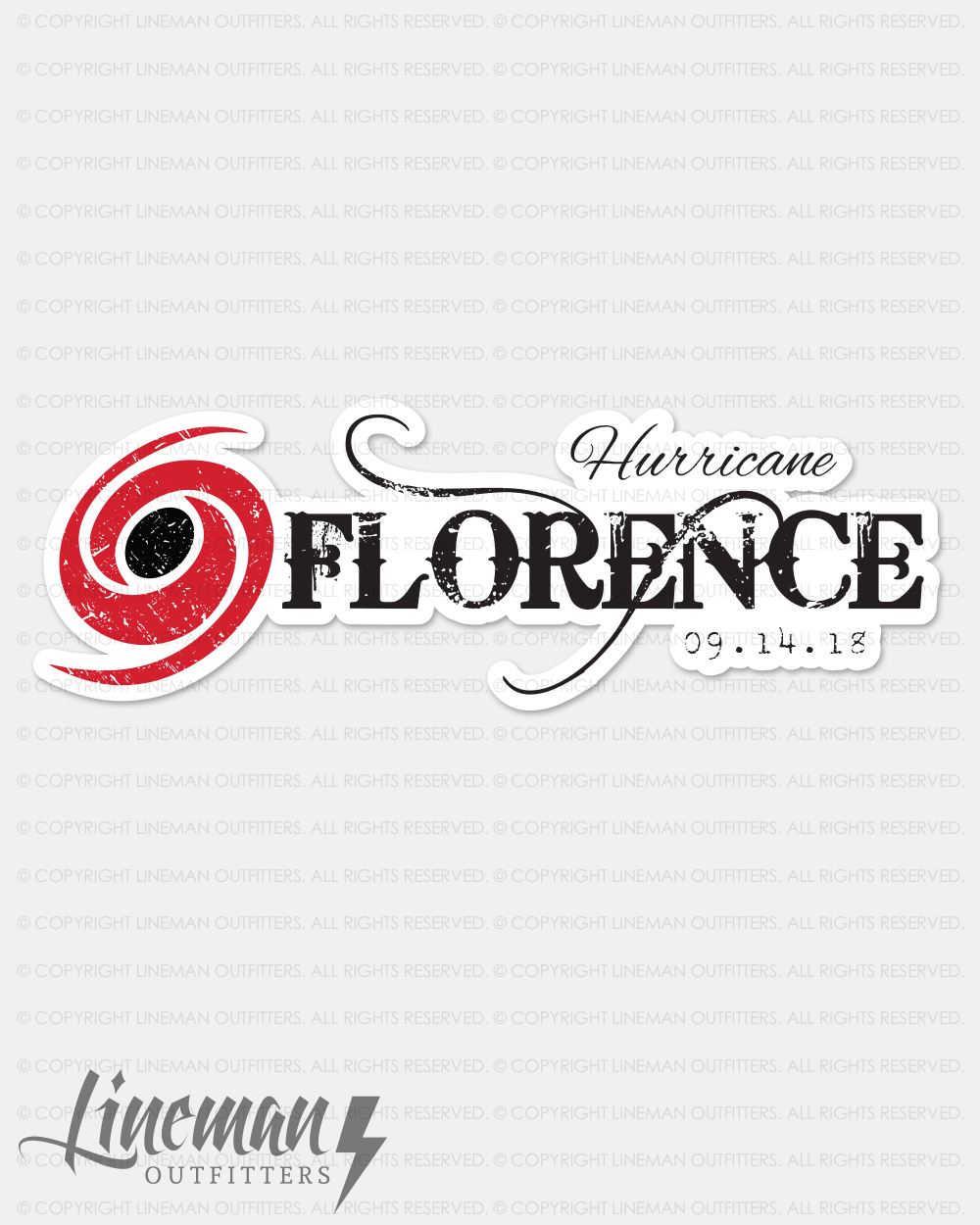 Hurricane Florence Hard Hat Decal   Sticker – Lineman Outfitters bce1454e4e17