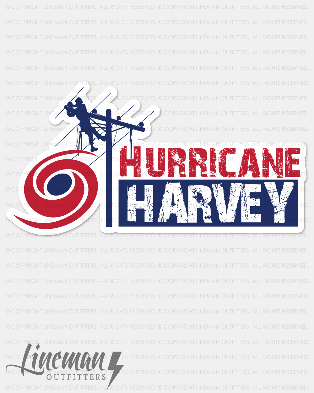 Hurricane Harvey Hard Hat Decal   Sticker – Lineman Outfitters 5a05dfcb3a19